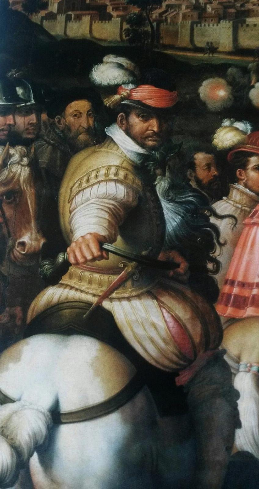 Giorgio Vasari Trionfo su Siena dettaglio di cavaliere con giustacuore in cuoio e pantaloni con pantaloni bordati in oro 1565