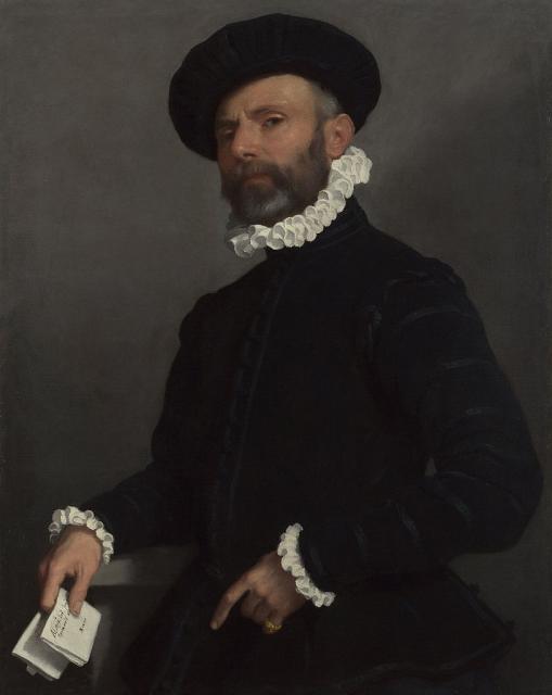 Giovanni Battista Moroni ritratto di uomo con lettera 1570