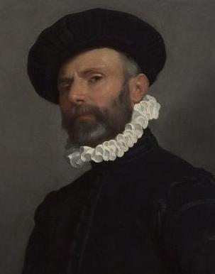 Giovanni Battista Moroni ritratto di uomo con lettera 1570 detail