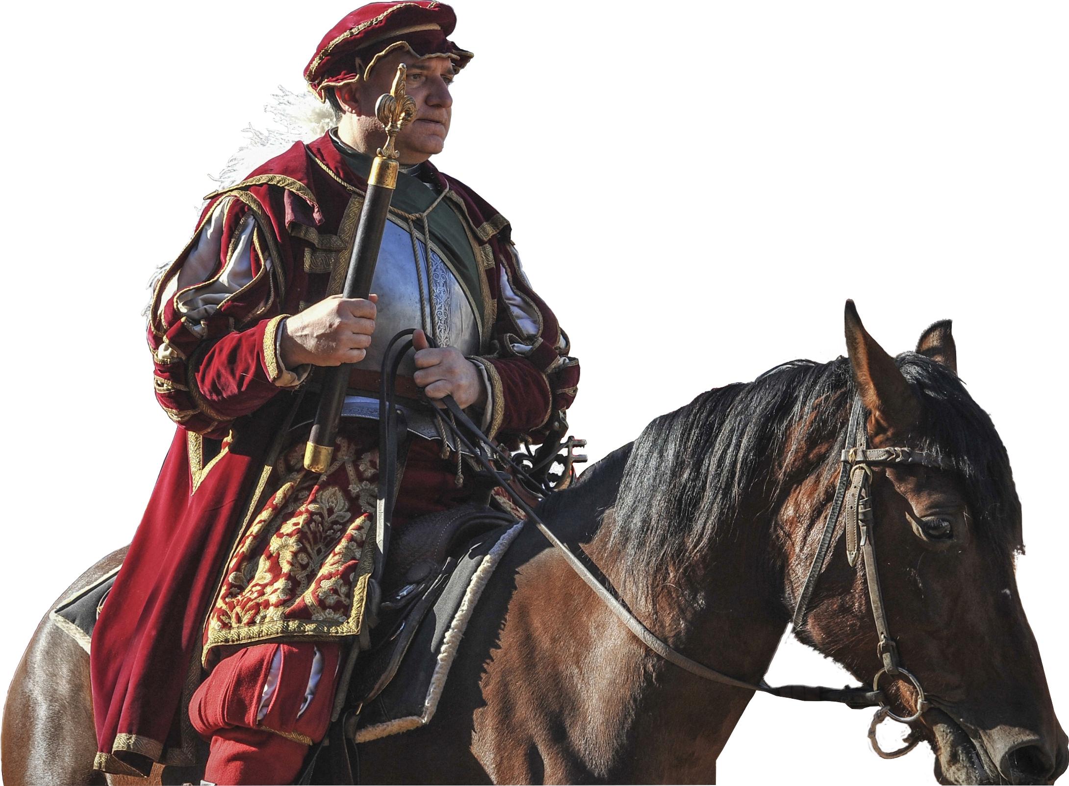 Nobile del Corteo Storico della Repubblica Fiorentina a cavallo vestito con petto darmi e giacca alla massimiliana