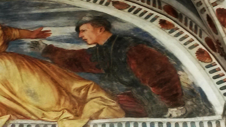Romanino particolare con giacca bicolore e basco nero nellaffresco castello del Buonconsiglio a Trento 1531