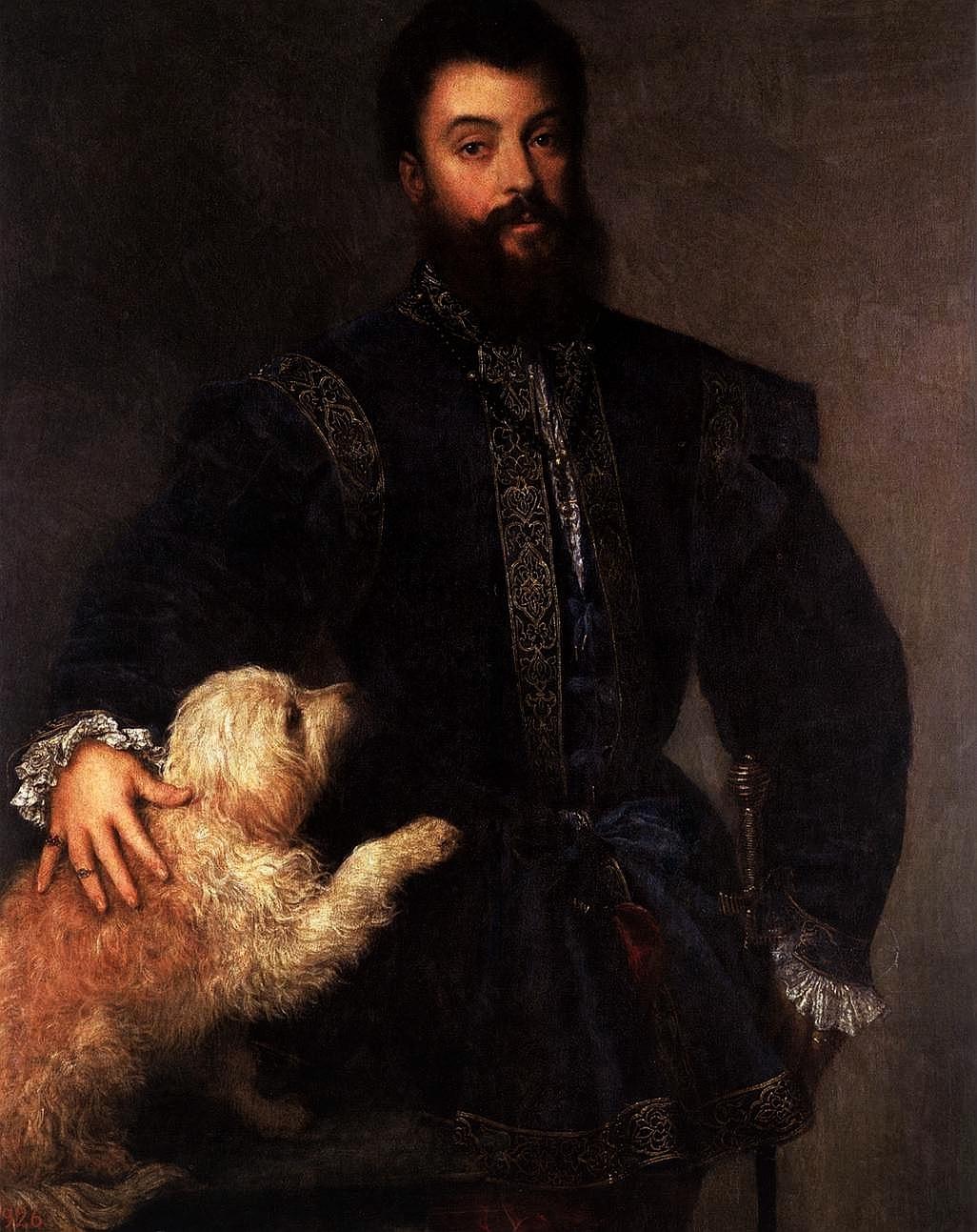 Tiziano ritratto di Federico II Gonzaga che indossa un farsetto alla massimiliana bordato di nastro dorato 1529