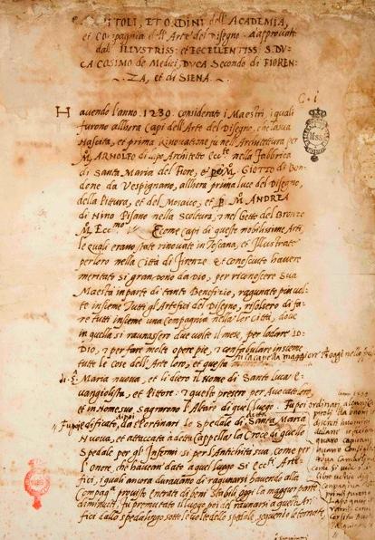 Parte Guelfa Capitoli et ordini dellAcademia et Compagnia dellArte del Disegno 1563. Firenze Biblioteca Nazionale Centrale Magliabechiani mss. II I 39 c