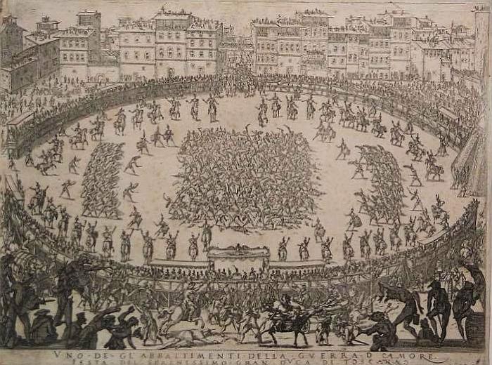 Parte Guelfa Jacques Callot incisione 1615 guerra damore in Piazza Santa Crioce 1