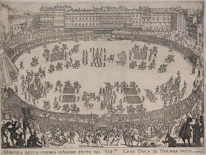 Parte Guelfa Jacques Callot incisione 1615 guerra damore in Piazza Santa Crioce 2
