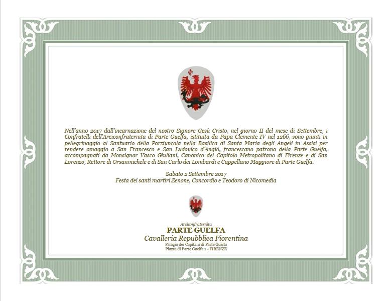 Parte Guelfa omaggio a San Francesco e San Ludovico alla Porziuncola