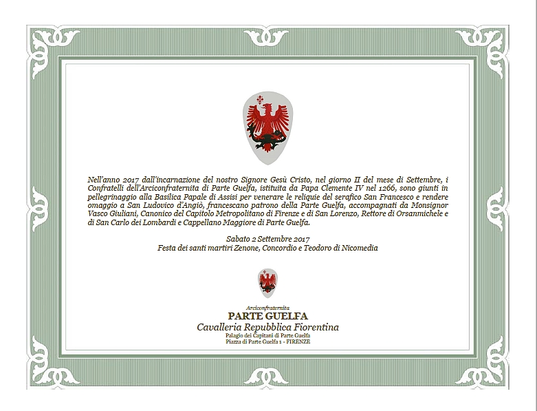 Parte Guelfa omaggio a San Francesco e San Ludovico in Assisi