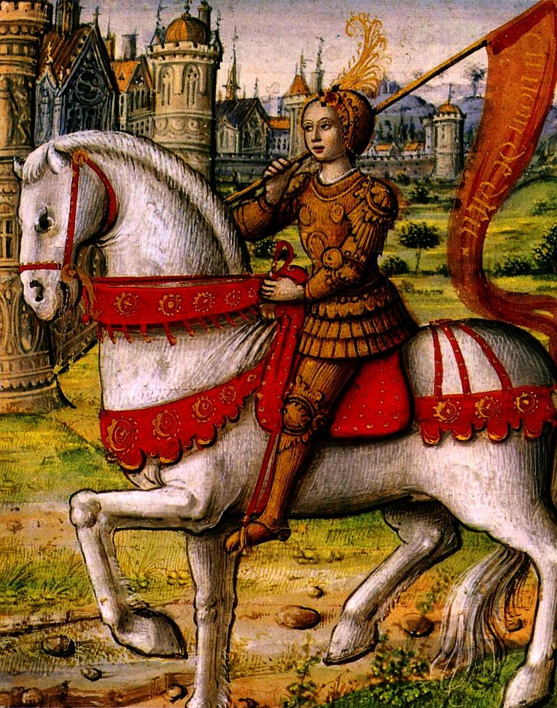 Parte Guelfa Giovanna dArco a cavallo in armatura manoscritto miniato del 1505