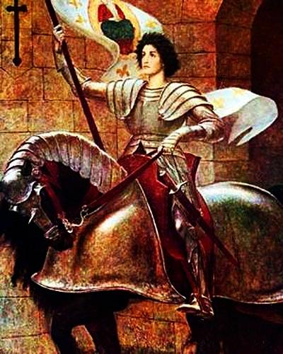 Parte Guelfa Giovanna dArco in armatura esce a cavallo da Orleans