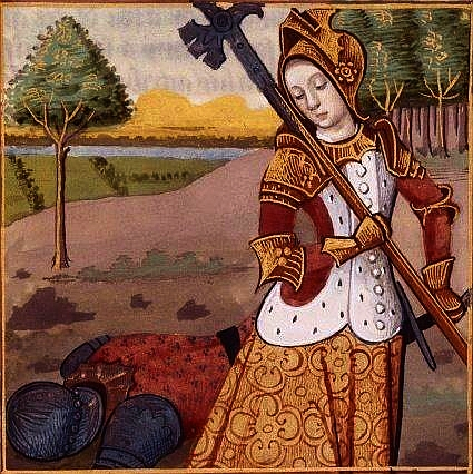 Parte Guelfa donna in armi miniatura XV secolo