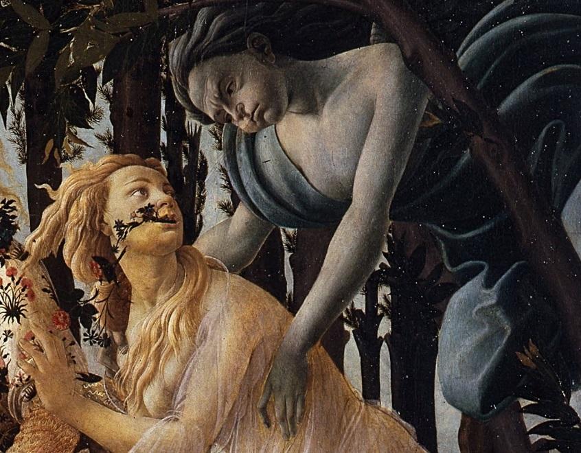 Parte Guelfa Sandro Botticelli Primavera dettaglio Zefiro e Clori 1477 1482 Galleria degli Uffizi