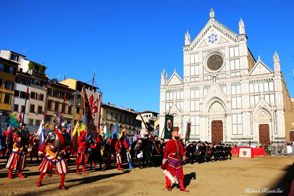Parte Guelfa Giostra del Giglio 2018 Piazza Santa Croce saluto allla voce