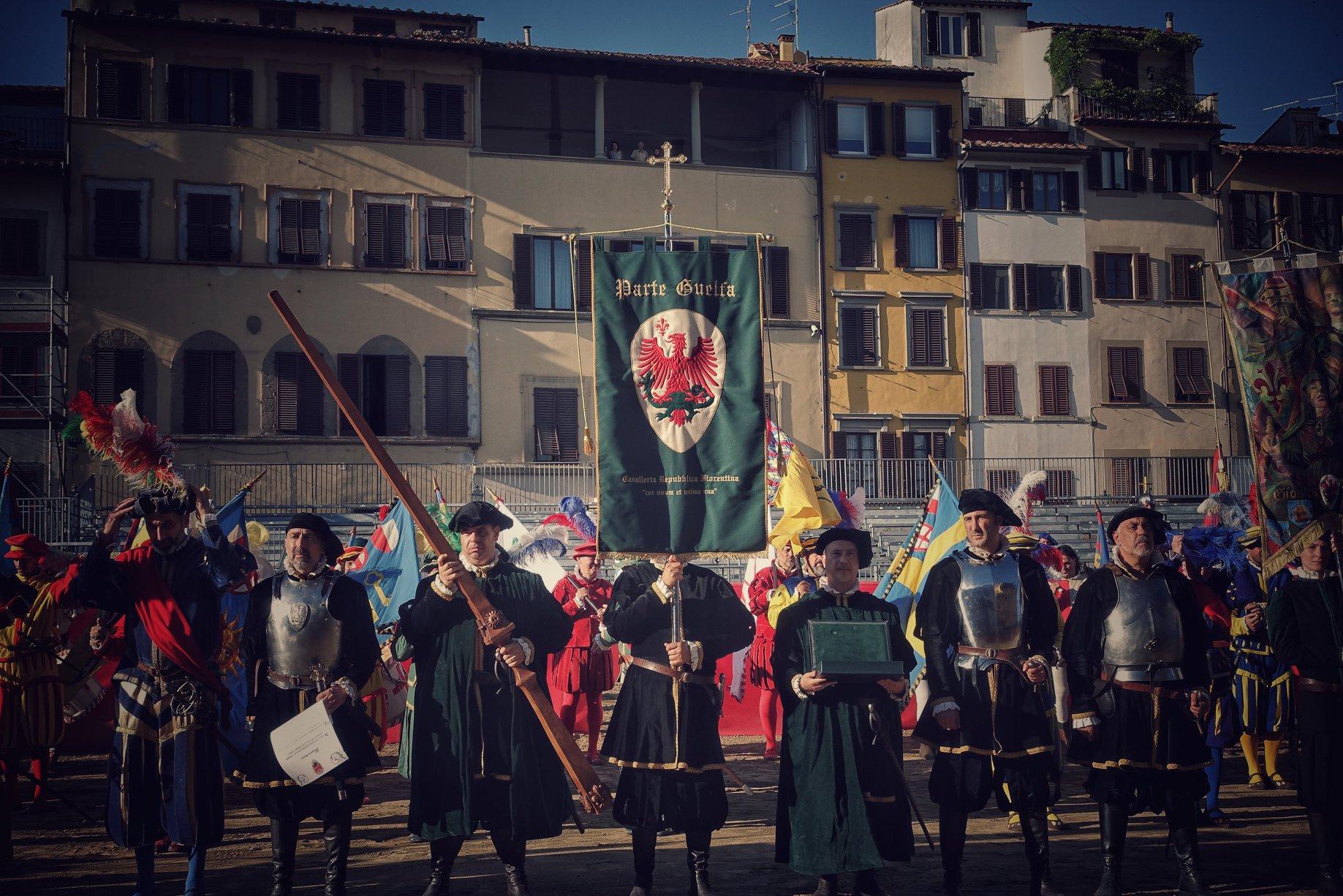 Parte Guelfa Giostra del Giglio 2018 Piazza Santa Croce schieramento