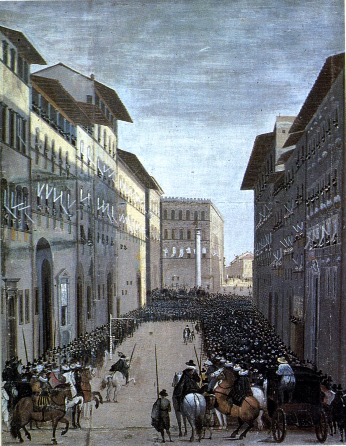 Parte Guelfa Giovanni Stradano Jan Van der Straet Giostra del Giglio il gioco dellanello veduta XVII secolo