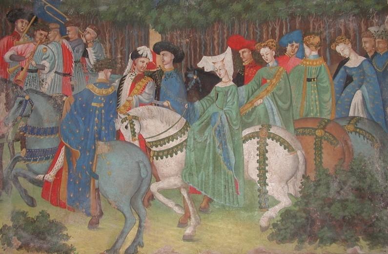 Parte Guelfa uomini e donne in passeggiata a cavallo Mantova XV secolo