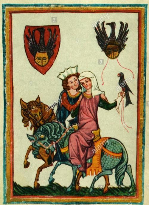 Parte Guelfa uomo e donna a cavall con falcone XIV secolo