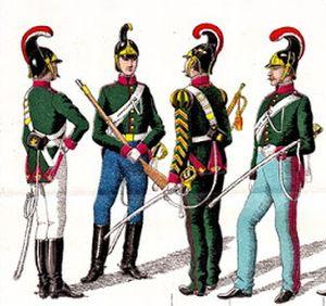 Parte Guelfa Dragoni di Toscana uniformi toscane 1861 dettaglio