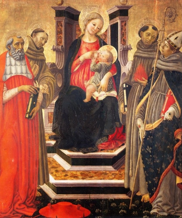 Parte Guelfa Botticini Madonna con Bambino in trono tra san Girolamo san Francesco dAssisi santAntonio da Padova e san Ludovico di Tolosa. 1