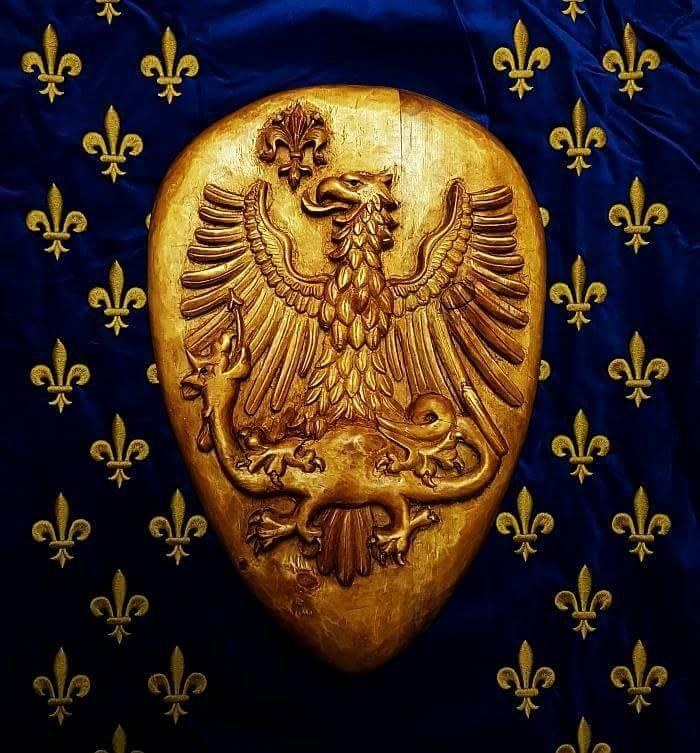 Parte Guelfa stemma legno su telo angioino
