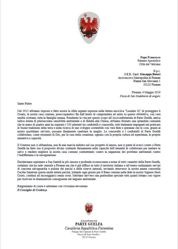 Parte Guelfa lettera a Papa Francesco 4 Maggio 2019